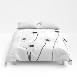 black and white cosmos Comforters