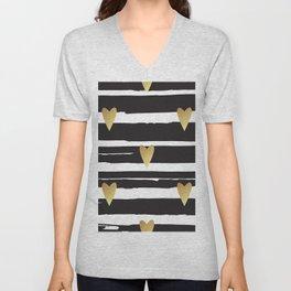 Gold hearts black and white stripes pattern Unisex V-Neck