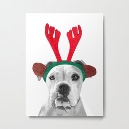 Black and White Boxer Christmas Metal Print
