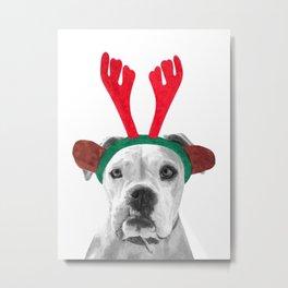 Black and White Boxer Christmas Metal Print