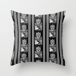 Black and White Tarot Print - The Chariot Throw Pillow