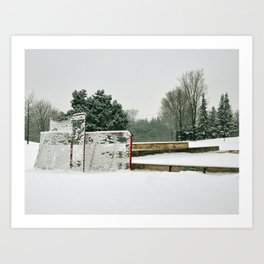 Hockey in the Snow Art Print