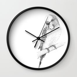 Australian Native Budgerigar Portrait - pen and ink Wall Clock