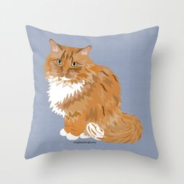 Ginger and White Fluffy Cat Throw Pillow