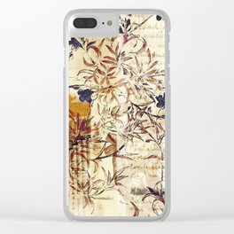 Vintage floral collage on paper Clear iPhone Case