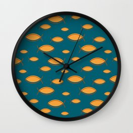 Mid Century Modern Fish in Gold on Teal Wall Clock