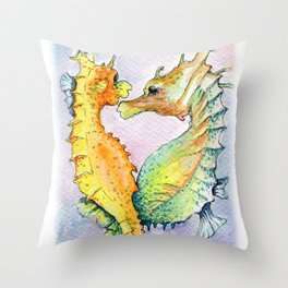 Seahorse Love Throw Pillow