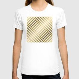 Art Deco Gold and Eggshell White Geometric Pattern T-shirt