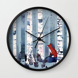 The Birches (in Blue) Wall Clock