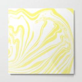 Yellow Marble Ink Watercolor Metal Print