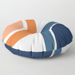 Abstract Shapes 34 in Burnt Orange and Navy Blue Floor Pillow