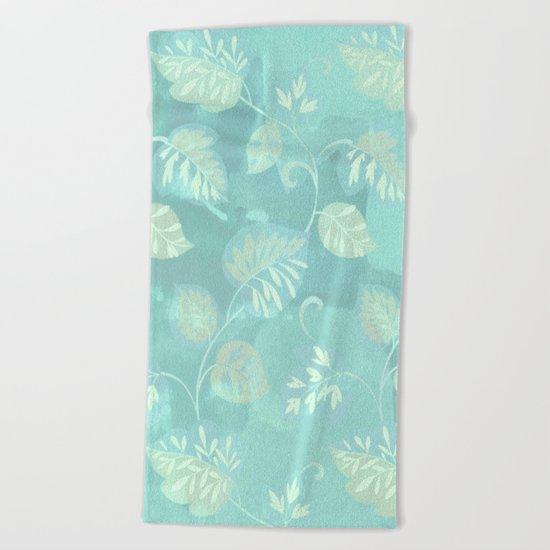 soft foliage in blue Beach Towel