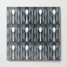 Checkered Silverware Pattern Metal Print