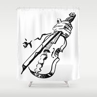 violin Shower Curtains featuring Violin by Azure Cricket