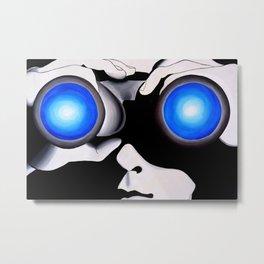 Blue Binoculars Reflection Modern Art Metal Print