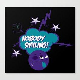 Nobody Smiling Emoji - Grape Canvas Print