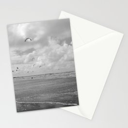 Black and white photograph of kitesurfers with a containership in the background. IJmuiden, Netherlands Stationery Cards