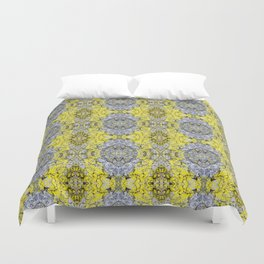 Yellow and Grey Abstract Pattern Duvet Cover