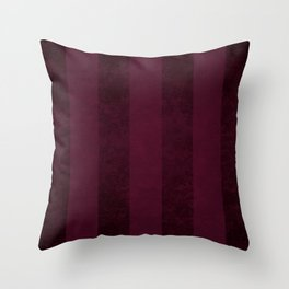 Red Wine Stripes Throw Pillow