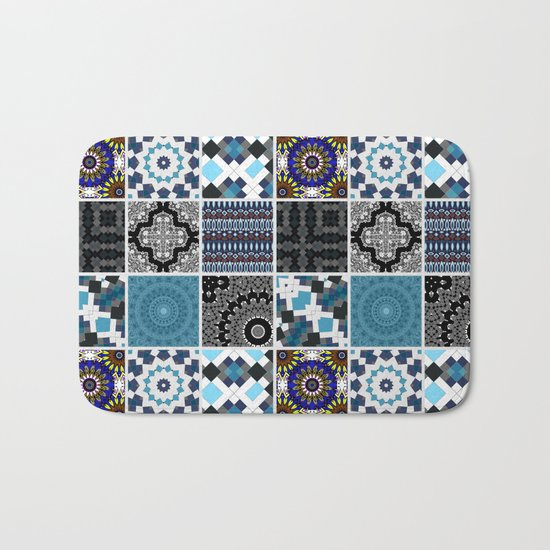 Patchwork . Blue , black and grey . Bath Mat