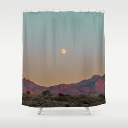 Sunset Moon Ridge // Grainy Red Mountain Range Desert Landscape Photography Yellow Fullmoon Blue Sky Shower Curtain