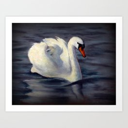 Swan Swimming in Sunshine, Oil Pastel Painting Art Print