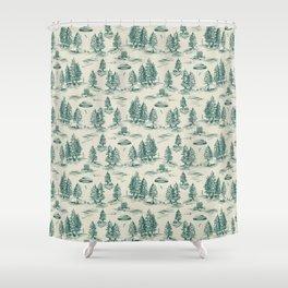 Teal Alien Abduction Toile De Jouy Pattern Shower Curtain