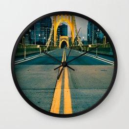 Pittsburgh Bridge Entrance Night Print Wall Clock