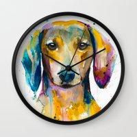 dachshund Wall Clocks featuring Dachshund  by Slaveika Aladjova