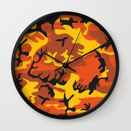 Camouflage orange, yellow, black Wall Clock