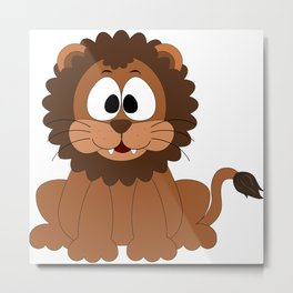 Cute Baby Lion Metal Print