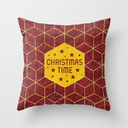 GRAPHIC ART GOLD Christmas Time Throw Pillow