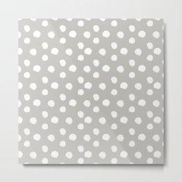 Brushy Dots - Gray Metal Print