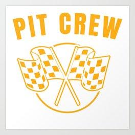 Automotive Race Car Sports Team Pit Crew Racing Car Racetrack Checkered Flag T-shirt Design Art Print