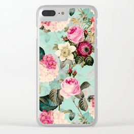 Vintage & Shabby Chic - Summer Teal Roses Flower Garden Clear iPhone Case