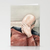 picard Stationery Cards featuring Picard Facepalm Meme by Olechka