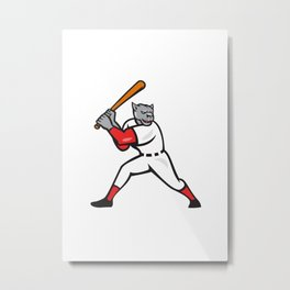 Black Panther Baseball Player Batting Isolated Metal Print
