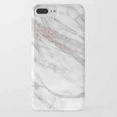 Pink Rose Gold Blush Metallic Glitter Foil on Grey Marble iPhone 7 Plus Slim Case