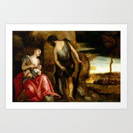 "Veronese (Paolo Caliari) ""The family of Cain wandering (Cain as a fugitive with his family)"" Art Print"