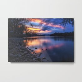 The Edge of Night sunset on the Sacramento River Metal Print