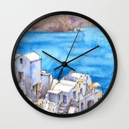 Greece ink & watercolor illustration Wall Clock