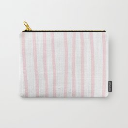 Simply Drawn Vertical Stripes in Flamingo Pink Carry-All Pouch