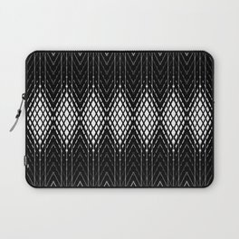 Geometric Black and White Diamond Scales Pattern Laptop Sleeve