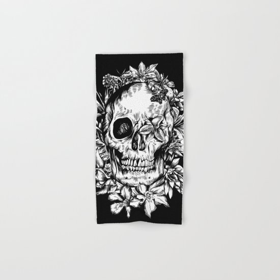 floral skull drawing black and white 2 Hand & Bath Towel