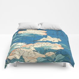 Japanese Flowers Turquoise Peach Comforters