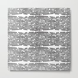 Snake skin scales texture. Seamless pattern black on white background. simple ornament Metal Print