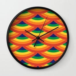 Retro Rainbow Scallops Wall Clock