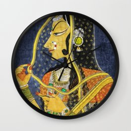Bani Thani female portrait painting in traditional Rajasthani, the Mona Lisa of India by Nihal Chand Wall Clock