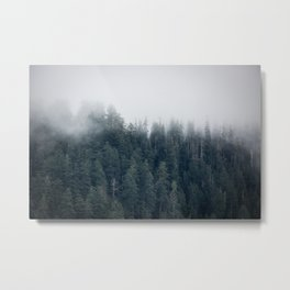 Misty Morning - Fog Rises off Mountains Revealing Forest in Washington Metal Print