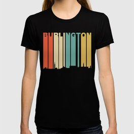 Retro 1970's Style Burlington Vermont Skyline T-shirt